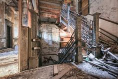 A staircase retains some elegant wrought-iron details at the long-abandoned P.S. 186 school in Harlem. After 40 years of neglect, saplings sprout from the upper floors. WILL ELLIS