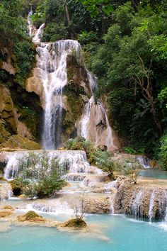 LAOS: The Kouang Si Waterfall in Luang Prabang, Laos cannot be missed out on on our bespoke honeymoon. Doesn't it look heavenly??