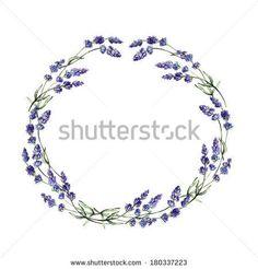 lavender wreath wedding invitation | Watercolor lavender wreath. Cute hand drawn wedding invitation ...