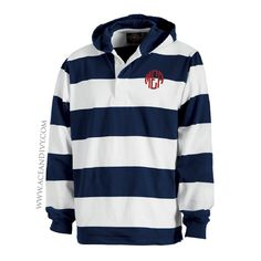 Monogrammed Hooded Rugby Pullover - Navy & White – Ace & Ivy