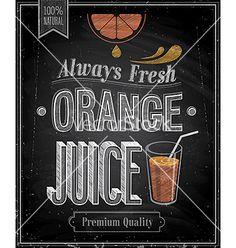 Orange juice chalk vector - by aviany on VectorStock®