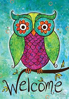 Toland  Rainbow Owl  Decorative Welcome Colorful Mulitcolor Bright Cute USAProduced House Flag *** Want to know more, click on the image.