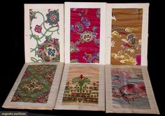 """SIX CHENEY SWATCH CARDS, EARLY 20TH C. Agusta Each printed silk pattern w/ 6 to 8 color-ways in folding accordian format, paper cover """"Fancy Florentine Silk Cheney Brothers"""", 9"""" x 15"""", several books w/ paisley designs, paper fair, silk samples excellent."""