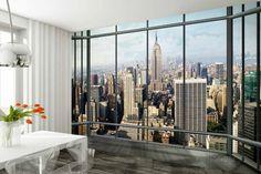 Silueta de Nueva York por una ventana - Mural de papel pintado Wallpaper Mural en AllPosters.es