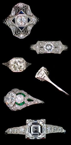 Antique and estate diamond engagement and wedding rings from Alexandria Rossoff Jewels and Rare Finds.