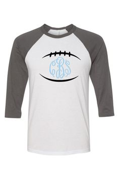 Lightweight and super comfortable, baseball shirts with football and monogram, feature 3/4 sleeves. Personalize them with your choice of vinyl color.