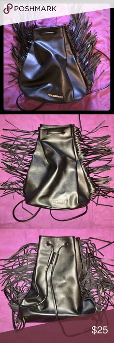 NWOT VS Fringe Backpack NWOT Victoria's Secret fringe backpack. Vegan leather. Never used. Drawstring closure. Very roomy, would hold a lot of stuff! Victoria's Secret Bags Backpacks