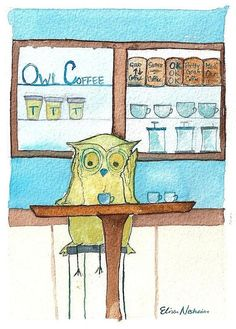 Owl Drinking Espresso PRINT, Coffee Shop Owls, Fine Art Archival Print, Cafe Inspired Illustration