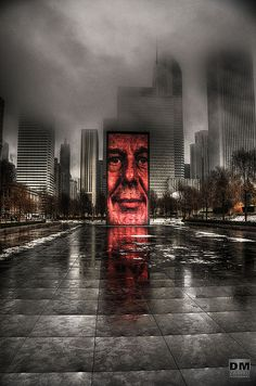 A stormy stare down in Millennium Park.