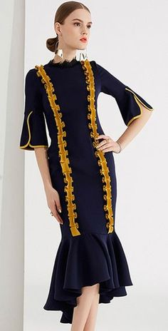 Chic Hit Color Stand Collar Flare Sleeve Mermaid Bodycon Dress