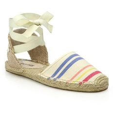 Soludos Classic Stripe Espadrille Sandals ($58) ❤ liked on Polyvore featuring shoes, sandals, apparel & accessories, ankle strap sandals, wrap shoes, ankle wrap espadrille, striped shoes and ankle wrap sandals