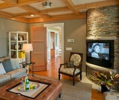 Farmhouse Meets Modern. Same home tour. Master bedroom suite, with a space to sit for TV, and a lovely fireplace as well.