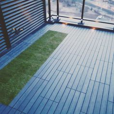Composite Deck tiles with Turf  Grass and Lights!  #torontobalconies