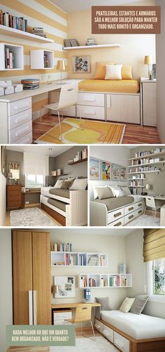 Guest Bedroom cum Home Office/ Study - Decor Idea Small Rooms, Small Apartments, Small Spaces, Home Bedroom, Bedroom Decor, Sweet Home, New Room, New Homes, House Design