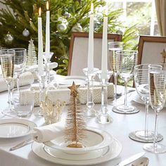 Classic white and gold Dinner Table Setting FROM: | Christmas table ideas - 10 of the best | housetohome.co.uk