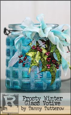 Frosty Winter Glass Votive by Tammy Tutterow | www.rangerink.com