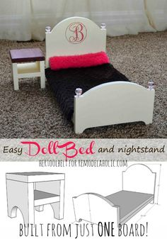 Build an easy doll bed and nightstand from just ONE -- free building plans for Austin to build Baby Doll Bed, Doll Beds, Diy Barbie Furniture, Dollhouse Furniture, Dollhouse Ideas, American Girl Accessories, Doll Accessories, Doll Crafts, Diy Doll