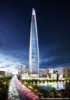Lotte World Tower - The Skyscraper Center Modern Buildings, Beautiful Buildings, Lotte World, High Rise Building, Futuristic Architecture, Burj Khalifa, Under Construction, Skyscraper, Urban