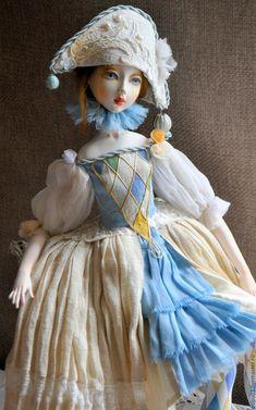 Купить Коломбина - комбинированный, коломбина, коллекционная кукла, кукла ручной работы, Будуарная кукла