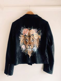 Bespoke design hand-painted by Mama Inc. A male lion surrounded by beautiful botanicals on real leather. Male Lion, Wedding Jacket, Bespoke Design, Happy Mothers Day, Hypebeast, Real Leather, Behind The Scenes, Street Wear, Bomber Jacket