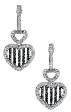 Black + White Diamond Stripe Heart Earrings // L.O.V.E.