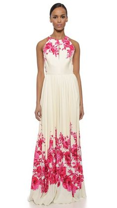 Lela Rose Floral Halter Gown - can I get married again??