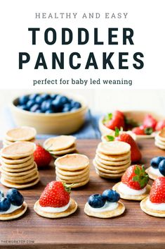 toddler pancakes that are healthy this easy recipe is perfect for babies and toddlers the small size makes these pancakes great for baby led weaning freezer friendly too recipe on www theworktop c - The world's most private search engine Kids Cooking Recipes, Baby Food Recipes, Gourmet Recipes, Easy Cooking, Cooking Games, Cooking Steak, Easy Recipes, Cooking Oil, Cooking With Toddlers