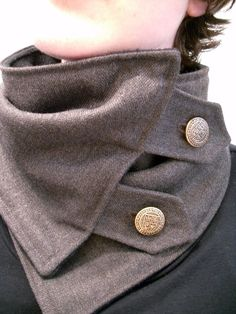 neck warmer from recycled men's suiting with fleece lining