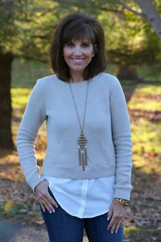 I love this style of top with the layering. I added a long necklace from Banana Republic.