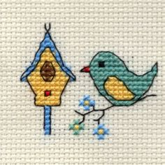 """Shop Mouseloft Stitchlet Cross Stitch Kit """"Bird & Birdhouse Free delivery and returns on eligible orders of or more. Cross Stitch Beginner, Tiny Cross Stitch, Cross Stitch Boards, Cross Stitch Alphabet, Cross Stitch Animals, Cross Stitch Designs, Cross Stitch Patterns, Cross Stitching, Cross Stitch Embroidery"""