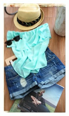 Mint top and denim shorts with a pair of retro sunnies and a Goorin Bros. hat...  Road trip!