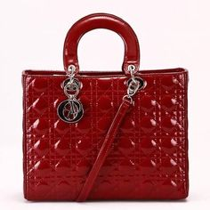 Large Lady Dior bag in maroon patent leather
