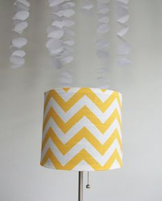 Yellow Chevron Drum Lampshade Cover  Need to paint our white ones...this would be perfect
