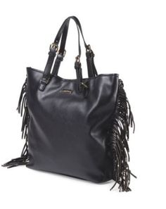Bcbg Paris Black Fringe Story Tote 14 17 5 Large Non Leather