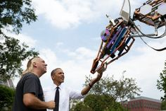 "Week of Making - June 12-18, 2015. and  National Maker Faire, Washington, DC . President Barack Obama looks at Lindsay Lawlor's robotic giraffe. "" Today's DIY is tomorrow's Made in America"" #STEM #STEAM designers, inventors, makers, tinkerers, buildershttps://www.whitehouse.gov/blog/2015/04/09/announcing-week-making-june-12-18-0"