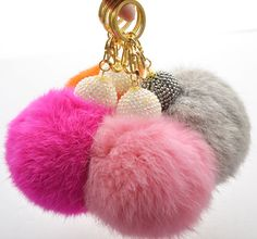 Extra Big Size Soft Genuine Rabbit Fur Ball Keychain Key Ring Handbag Pendant | eBay