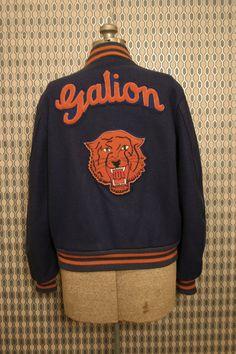Vintage 1970s Galion Wildcats blue & orange wool letterman jacket Mens