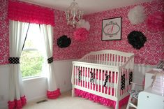 Absolutely LOVE this hot pink and black nursery with polka dots and ruffles!!! ♥♥♥