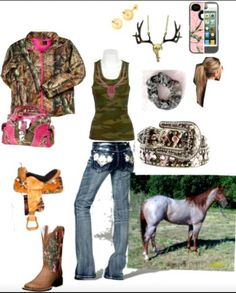 """Im thinkin this outfit just has """"josie"""" written all over it ;-) or Cass! Camo Outfits, Cowgirl Outfits, Cowgirl Style, Western Outfits, Western Wear, Western Style, Country Girl Life, Cute N Country, Country Wear"""