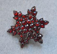 Rose Cut Bohemian Garnet Vintage Star Pin by HighClassHighway