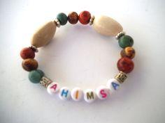 "AHIMSA ""To Do No Harm"" Stretch Bracelet, Statement Jewelry, Organic Beaded Bracelet, Multi-Colored, Eco-Friendly, Vegan Gifts by TerriJeansAdornments on Etsy"
