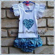 handmade by Handmade Pretties by Erin Girls size 00 ruffle bum & matching singlet