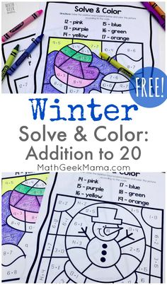 {FREE} Winter Solve & Color: Addition to 20 Practice Looking for extra practice with addition strategies? This FREE set of winter addition to 20 pages focuses on specific strategies for meaningful practice. Educational Activities For Kids, Math Activities, Math Resources, Printable Math Worksheets, Kindergarten Worksheets, Teen Numbers, Homeschool Math, Homeschooling, 1st Grade Math