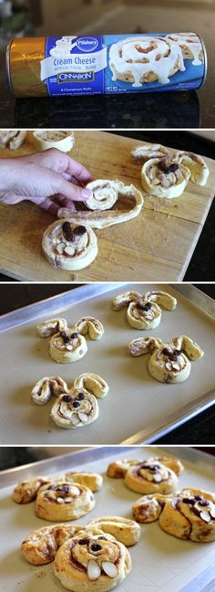 "Bunny cinnamon rolls plus many other Easter crafts and recipes "" Holiday Treats, Holiday Recipes, Holiday Desserts, Fun Desserts, Easter Treats, Easter Food, Easter Decor, Easter Snacks, Easter Centerpiece"