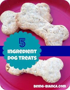 Easy 5 Ingredient Dog Treat Bones w ingredients you have in your kitchen! #dog #puppy Being-Bianca.com
