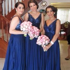 2015 Blue A Line Bridesmaid Dresses Floor Length Sequined Party Dresses Formal Gown