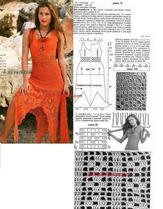 Оранжевое платье филейное вязание крючком,филейное вязание крючком,вязание крючком схемы,модели и описания,вязание крючком модели,