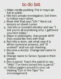 Funny bucket list