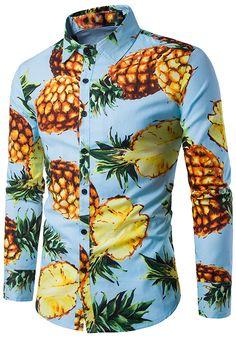 Men's fashion:Pineapple Print Long Sleeve Shirt