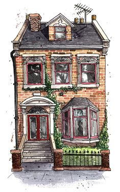 London Townhouse, watercolour and ink, me, 2019 : Watercolor Art And Illustration, Building Illustration, Watercolor Illustration, London Illustration, Illustrations, Architecture Drawing Art, Watercolor Architecture, Building Architecture, Watercolor And Ink